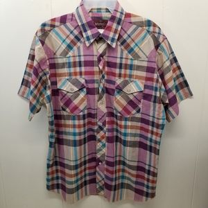 Wrangler L 16 16.5 Shirt Western Plaid Pearl Snap